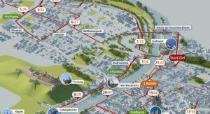 3D-Visualisierung des Streckenverlauf des diesjährigen iWelt-Marathons, erstellt vom 3D Betrieb